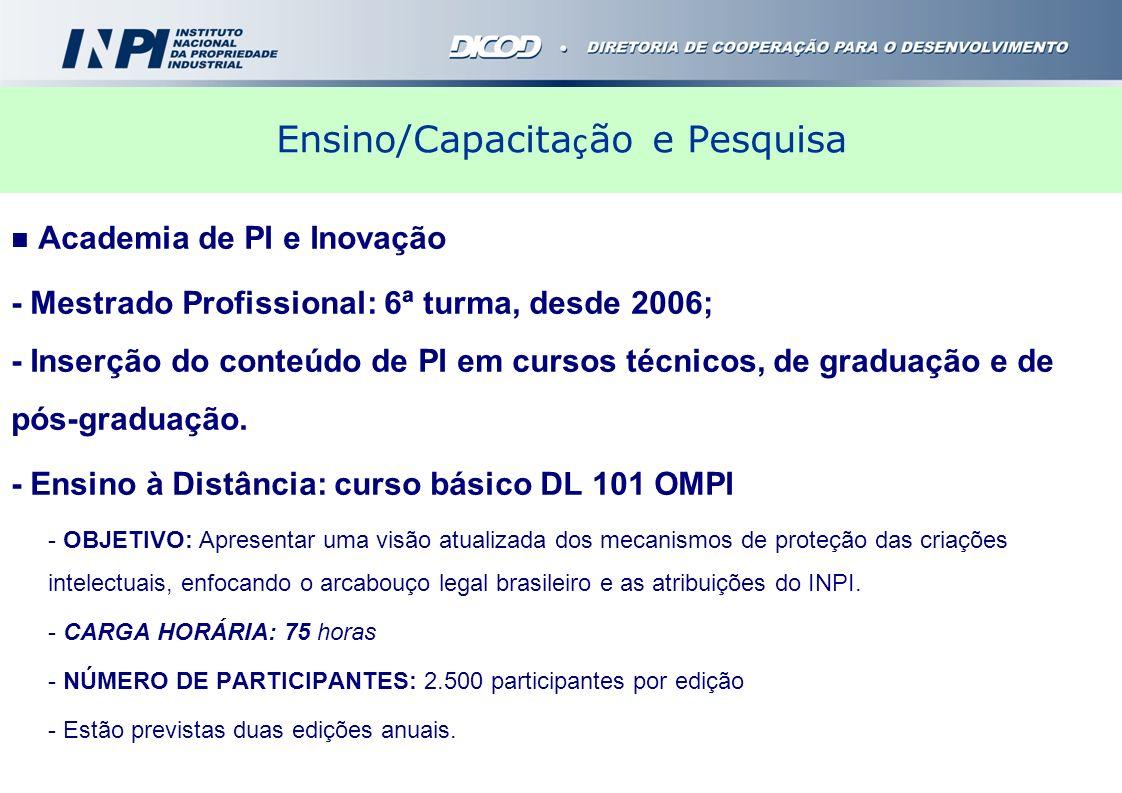 Ensino/Capacita ç ão e Pesquisa Academia de PI e Inovação - Mestrado Profissional: 6ª turma, desde 2006; - Inserção do conteúdo de PI em cursos técnic