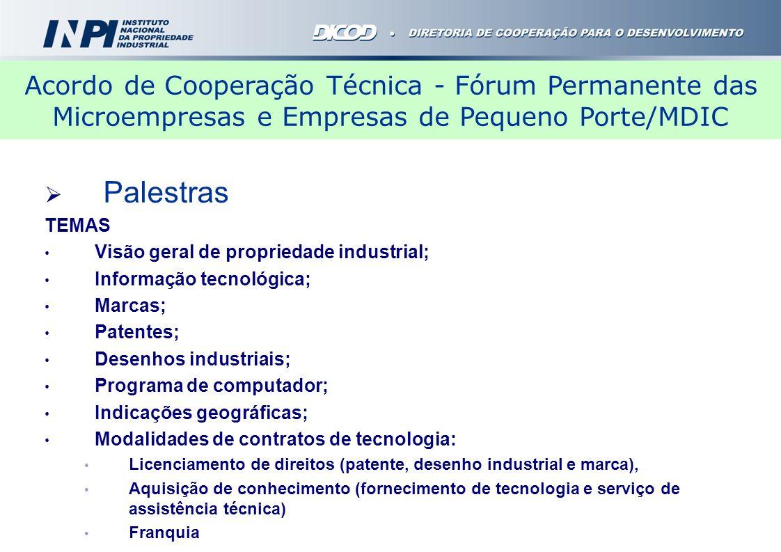 Palestras TEMAS Visão geral de propriedade industrial; Informação tecnológica; Marcas; Patentes; Desenhos industriais; Programa de computador; Indicaç