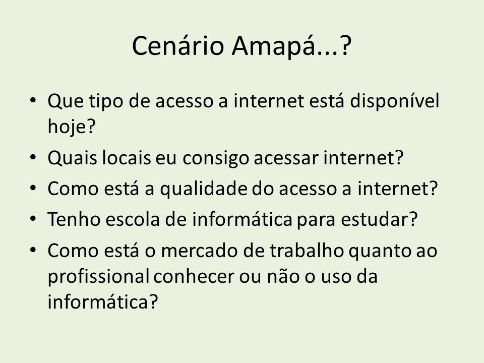Cenário Amapá...? Que tipo de acesso a internet está disponível hoje? Quais locais eu consigo acessar internet? Como está a qualidade do acesso a inte