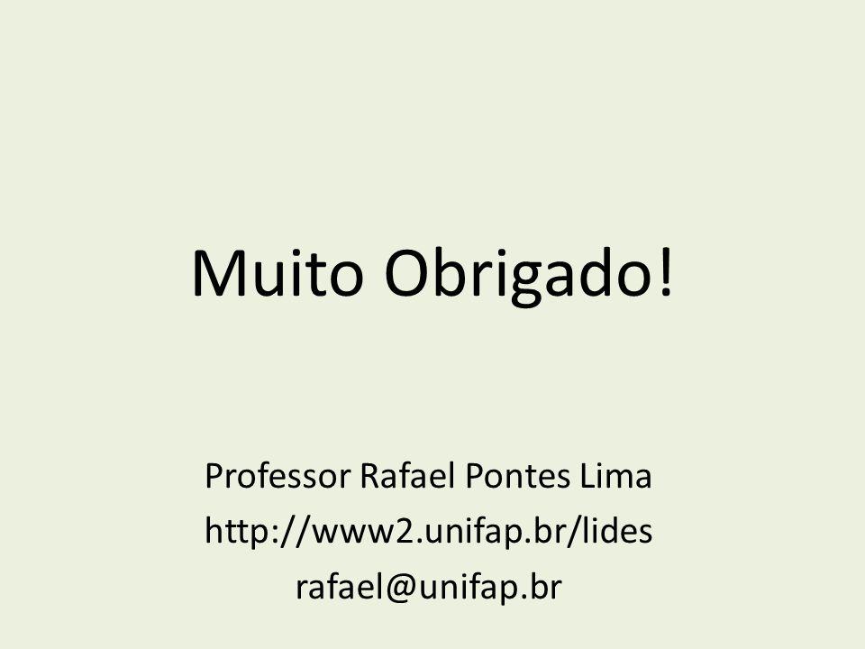 Muito Obrigado! Professor Rafael Pontes Lima http://www2.unifap.br/lides rafael@unifap.br