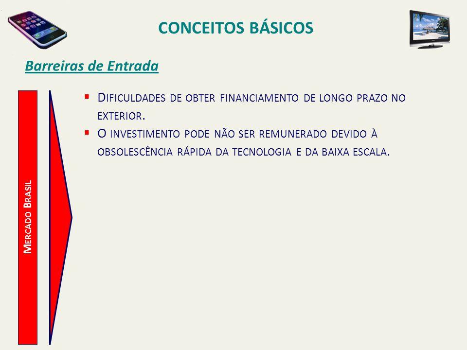 CONCEITOS BÁSICOS M ERCADO B RASIL Barreiras de Entrada D IFICULDADES DE OBTER FINANCIAMENTO DE LONGO PRAZO NO EXTERIOR. O INVESTIMENTO PODE NÃO SER R