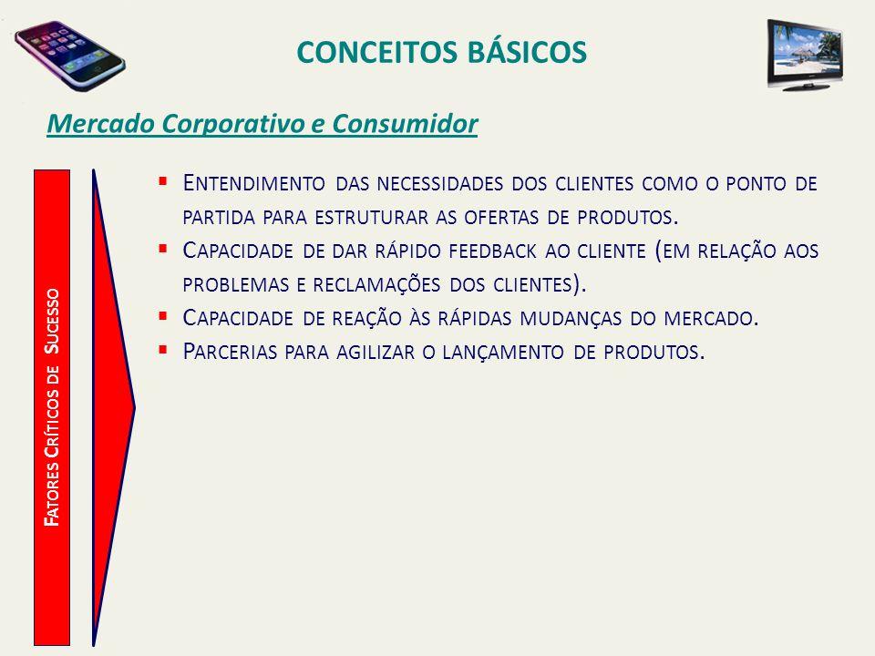 CONCEITOS BÁSICOS F ATORES C RÍTICOS DE S UCESSO Mercado Corporativo e Consumidor E NTENDIMENTO DAS NECESSIDADES DOS CLIENTES COMO O PONTO DE PARTIDA