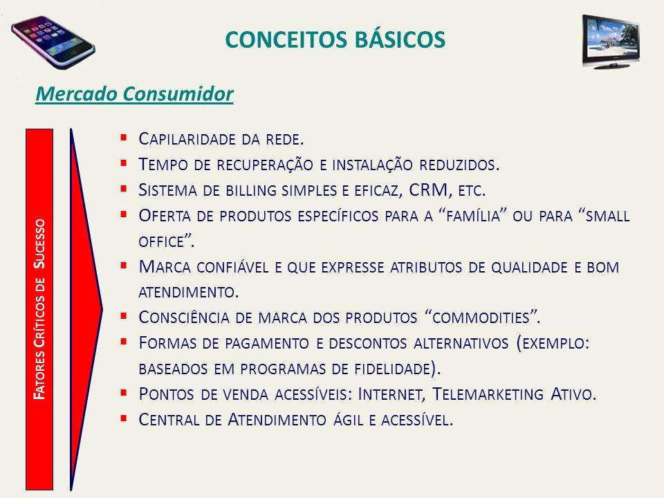 CONCEITOS BÁSICOS F ATORES C RÍTICOS DE S UCESSO Mercado Consumidor C APILARIDADE DA REDE. T EMPO DE RECUPERAÇÃO E INSTALAÇÃO REDUZIDOS. S ISTEMA DE B