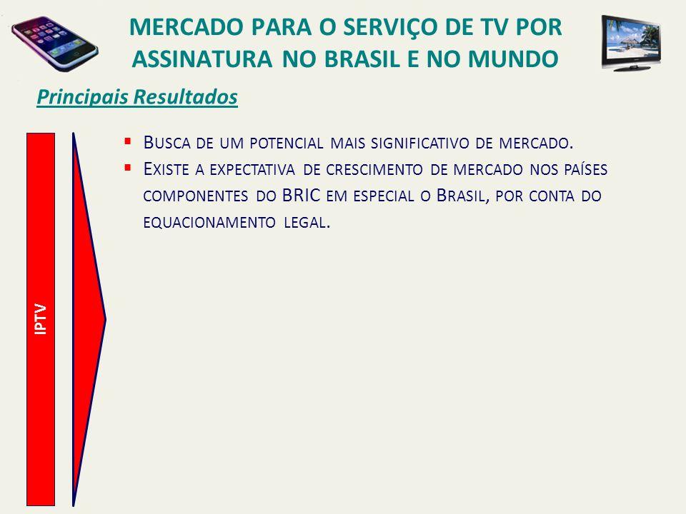 Principais Resultados IPTV B USCA DE UM POTENCIAL MAIS SIGNIFICATIVO DE MERCADO. E XISTE A EXPECTATIVA DE CRESCIMENTO DE MERCADO NOS PAÍSES COMPONENTE