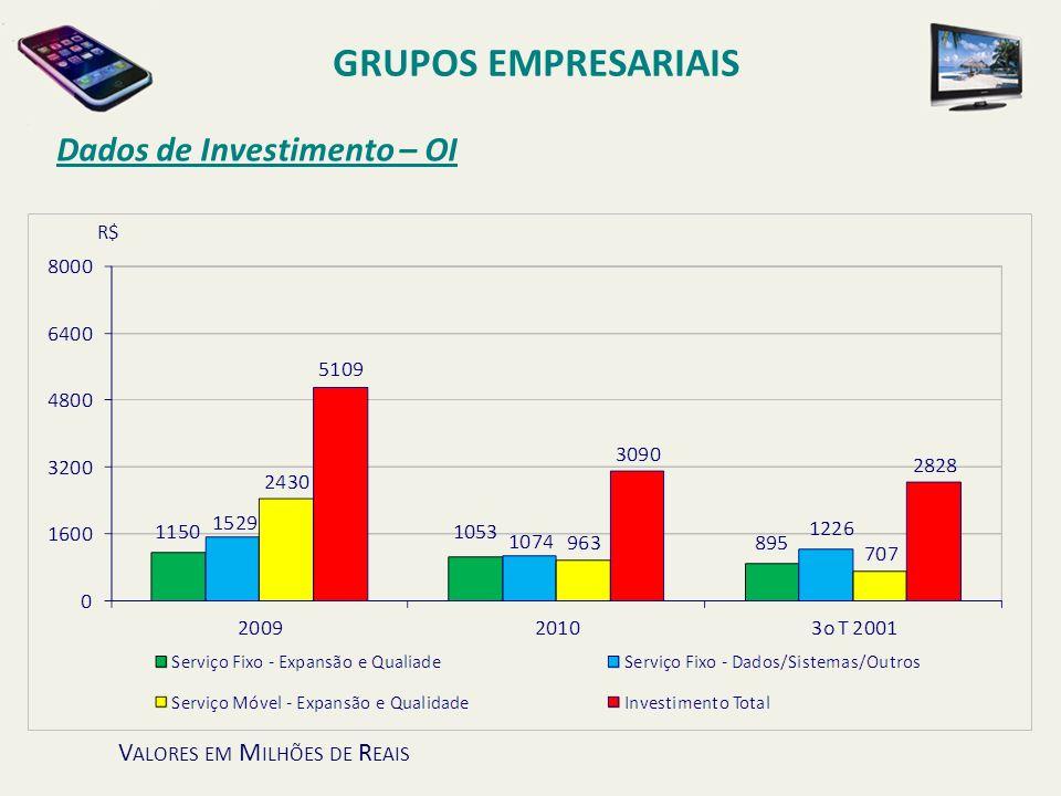 Dados de Investimento – OI GRUPOS EMPRESARIAIS V ALORES EM M ILHÕES DE R EAIS R$