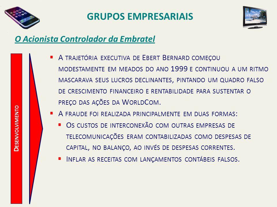 D ESENVOLVIMENTO O Acionista Controlador da Embratel A TRAJETÓRIA EXECUTIVA DE E BERT B ERNARD COMEÇOU MODESTAMENTE EM MEADOS DO ANO 1999 E CONTINUOU
