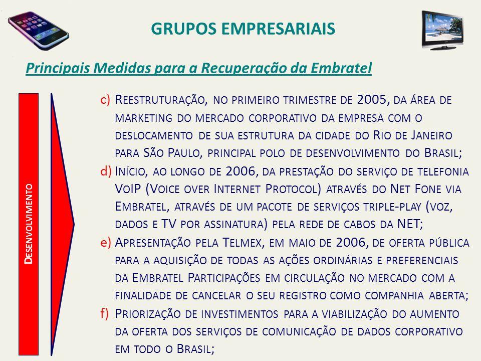 D ESENVOLVIMENTO Principais Medidas para a Recuperação da Embratel c)R EESTRUTURAÇÃO, NO PRIMEIRO TRIMESTRE DE 2005, DA ÁREA DE MARKETING DO MERCADO C
