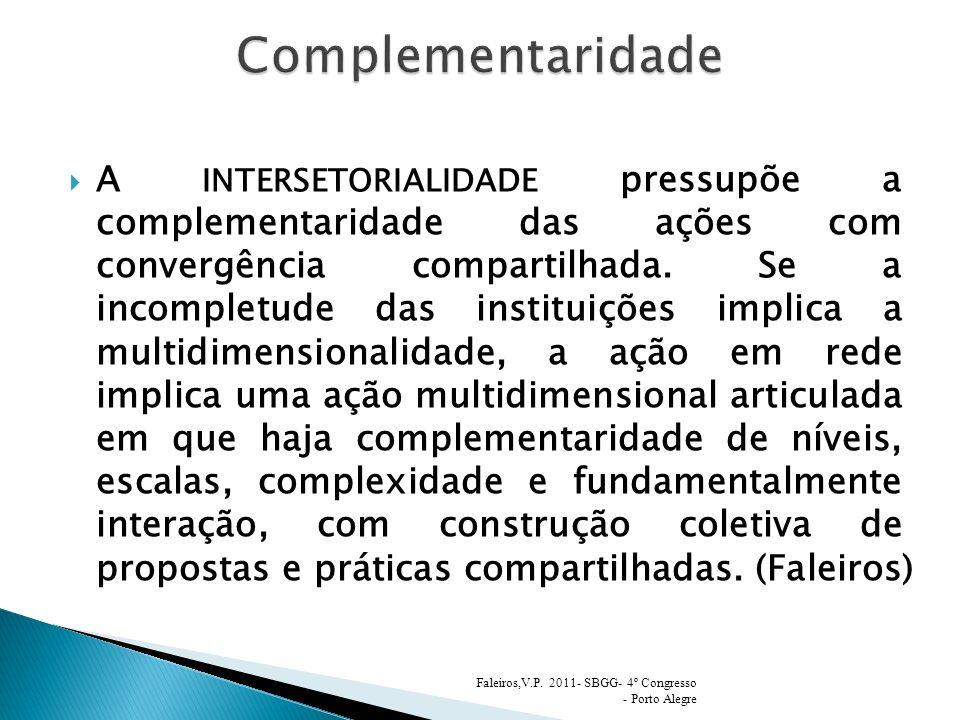 A INTERSETORIALIDADE pressupõe a complementaridade das ações com convergência compartilhada. Se a incompletude das instituições implica a multidimensi