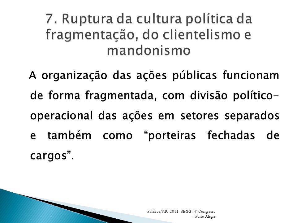 A organização das ações públicas funcionam de forma fragmentada, com divisão político- operacional das ações em setores separados e também como porteiras fechadas de cargos.