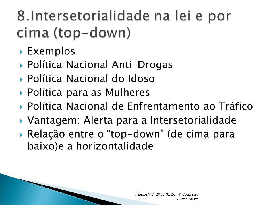 Exemplos Política Nacional Anti-Drogas Política Nacional do Idoso Política para as Mulheres Política Nacional de Enfrentamento ao Tráfico Vantagem: Al