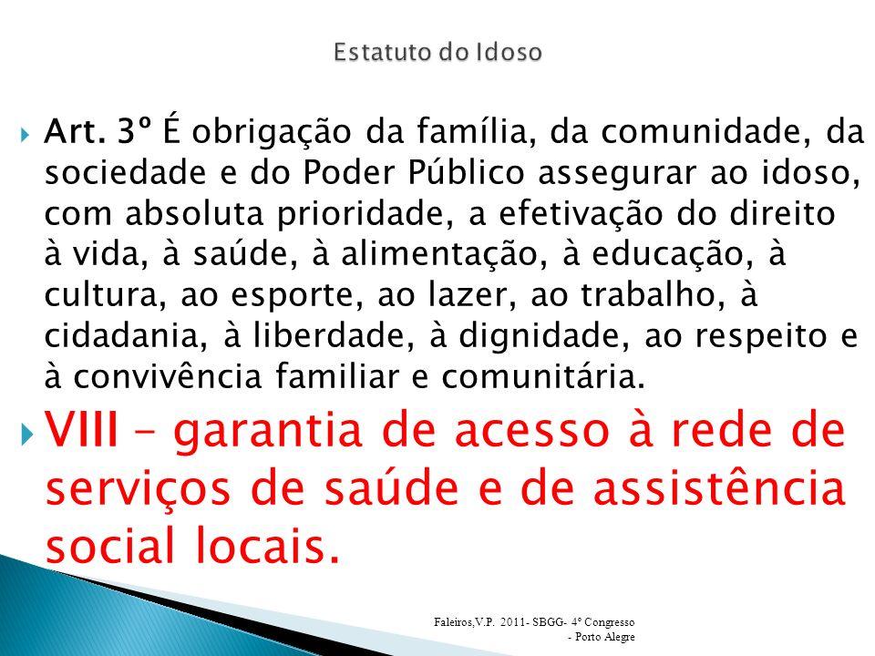 Art. 3º É obrigação da família, da comunidade, da sociedade e do Poder Público assegurar ao idoso, com absoluta prioridade, a efetivação do direito à