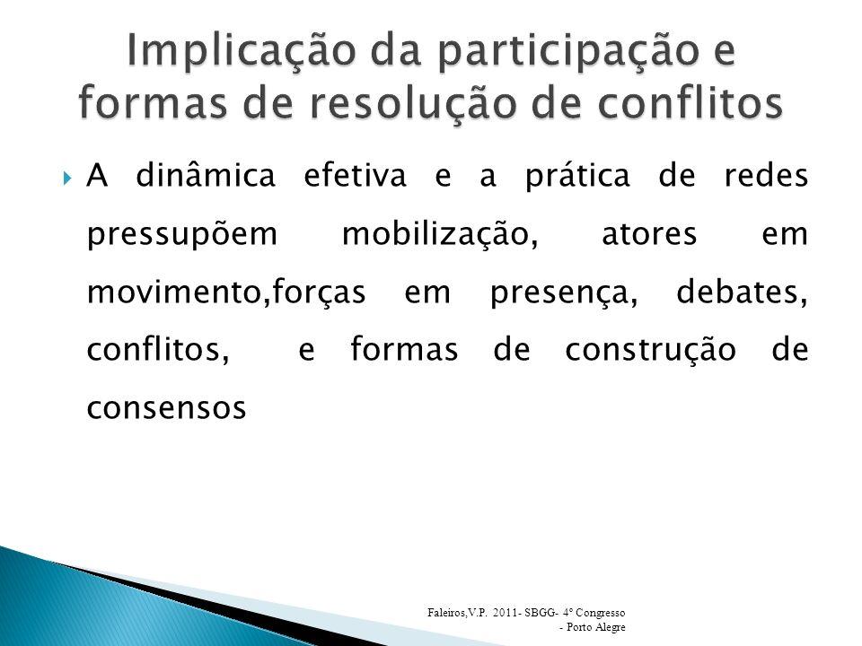 A dinâmica efetiva e a prática de redes pressupõem mobilização, atores em movimento,forças em presença, debates, conflitos, e formas de construção de consensos Faleiros,V.P.