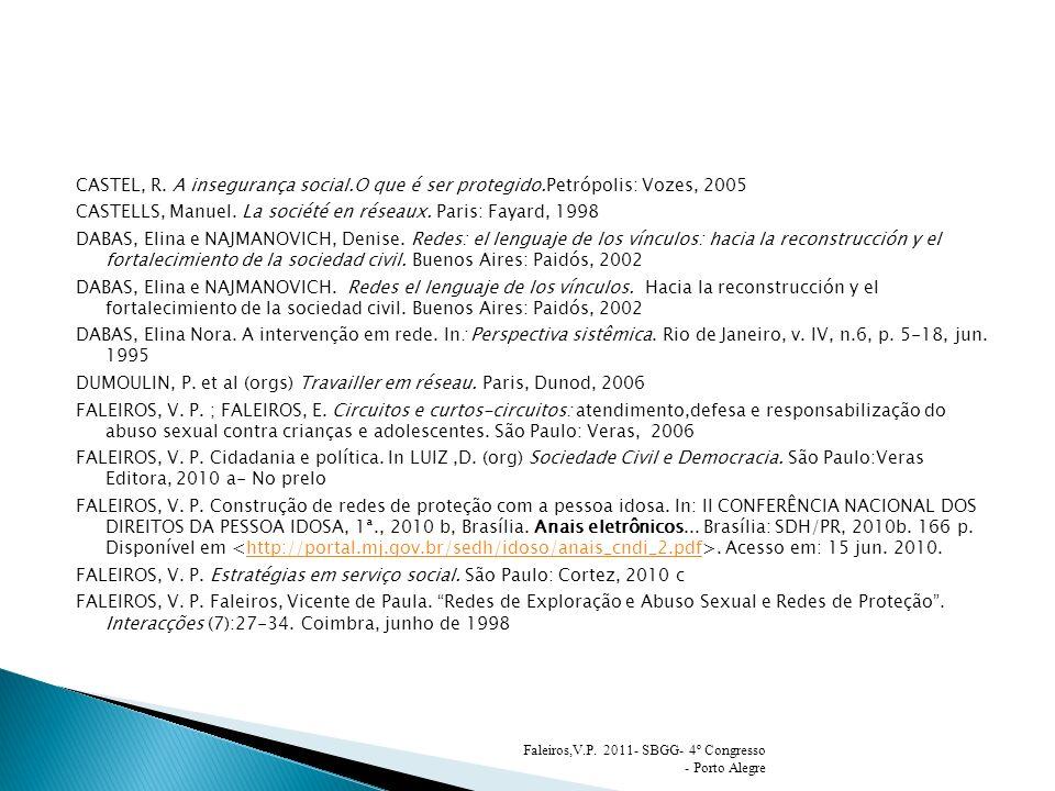 CASTEL, R. A insegurança social.O que é ser protegido.Petrópolis: Vozes, 2005 CASTELLS, Manuel. La société en réseaux. Paris: Fayard, 1998 DABAS, Elin