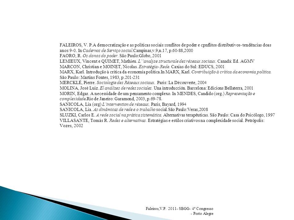FALEIROS, V. P.A democratização e as políticas sociais:conflitos de poder e cpnflitos distributivos- tendências doas anos 9-0. In Cadernos de Serviço