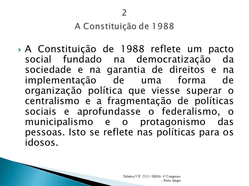 A Constituição de 1988 reflete um pacto social fundado na democratização da sociedade e na garantia de direitos e na implementação de uma forma de organização política que viesse superar o centralismo e a fragmentação de políticas sociais e aprofundasse o federalismo, o municipalismo e o protagonismo das pessoas.