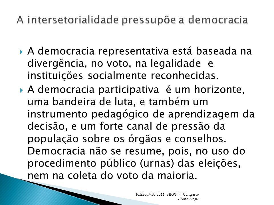 A democracia representativa está baseada na divergência, no voto, na legalidade e instituições socialmente reconhecidas. A democracia participativa é