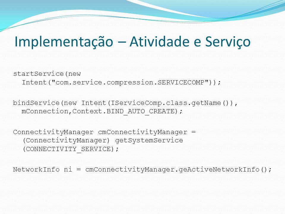 Implementação – Atividade e Serviço startService(new Intent(