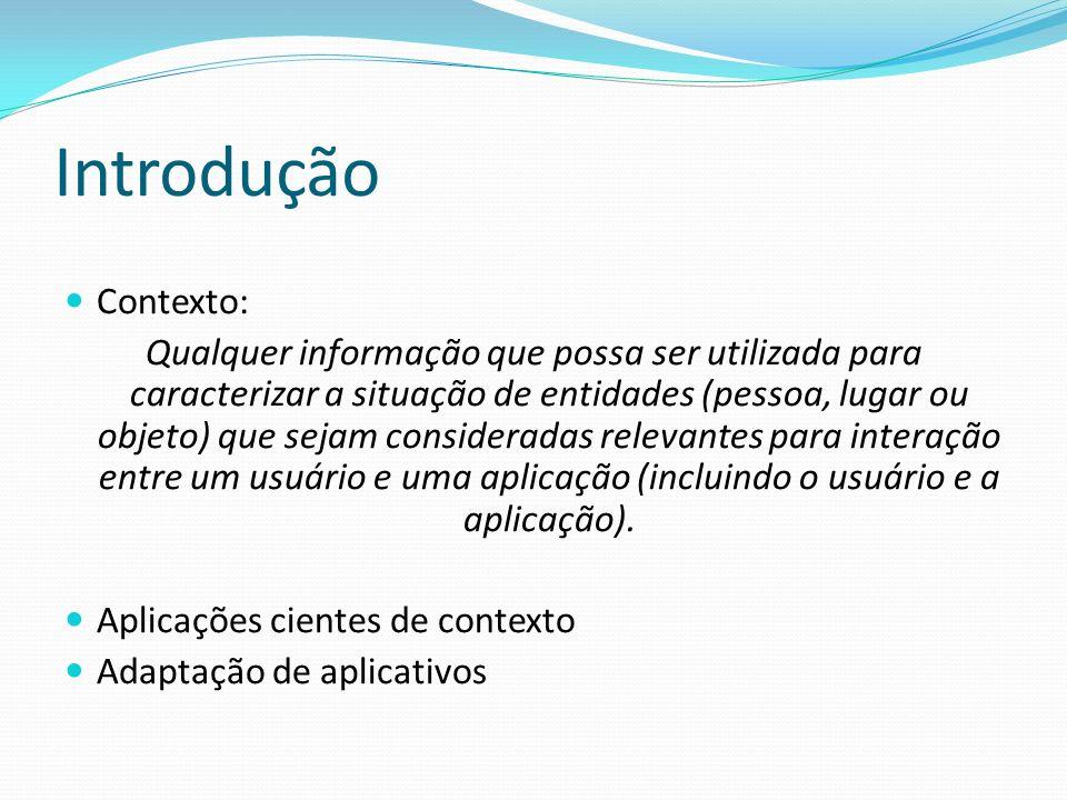Introdução Contexto: Qualquer informação que possa ser utilizada para caracterizar a situação de entidades (pessoa, lugar ou objeto) que sejam conside