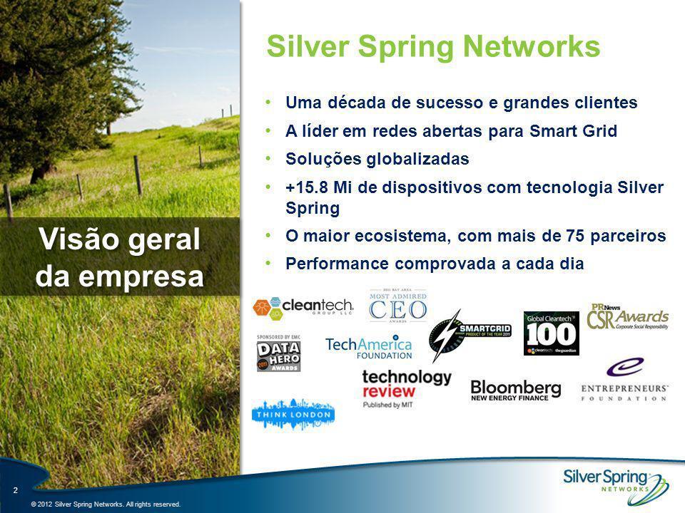 A Plataforma Smart Energy da Silver Spring Uma só rede – Múltiplas aplicações 3 Software Serviços Medição Avançada (AMI) (Energia, Gas e Água) Automação da Distribuição (DA) Eficiência Energética (EE) Resposta à Demanda (DR) Veículos Elétricos (EE) Futuras aplicações Rede IPv6 Plataforma Smart Energy