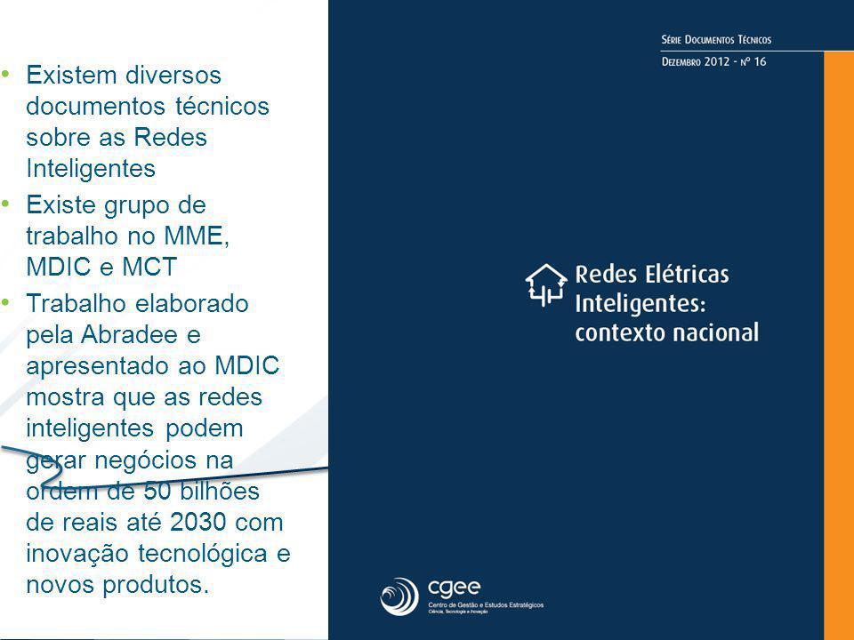 Existem diversos documentos técnicos sobre as Redes Inteligentes Existe grupo de trabalho no MME, MDIC e MCT Trabalho elaborado pela Abradee e apresen