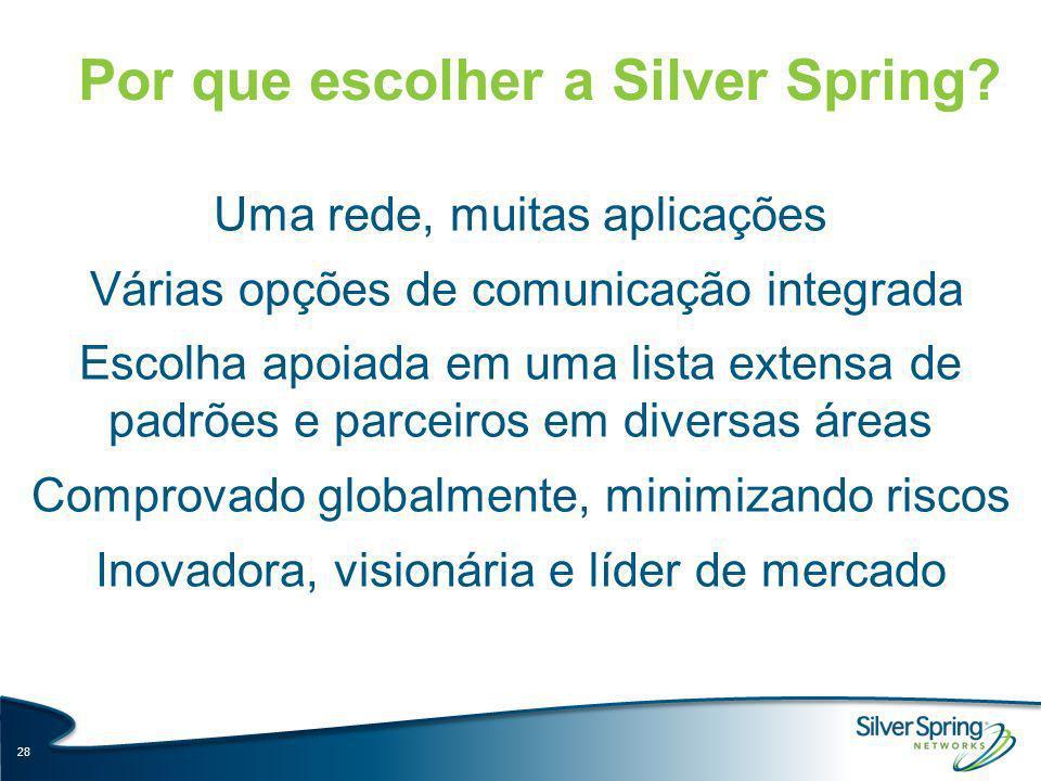 Por que escolher a Silver Spring? 28 Uma rede, muitas aplicações Várias opções de comunicação integrada Escolha apoiada em uma lista extensa de padrõe