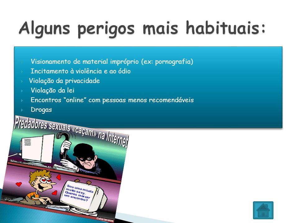 Visionamento de material impróprio (ex: pornografia) Incitamento à violência e ao ódio Violação da privacidade Violação da lei Encontros online com pe
