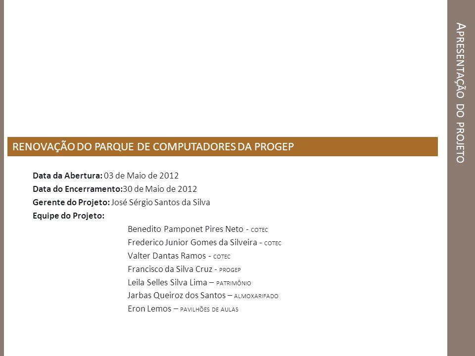 A PRESENTAÇÃO DO PROJETO Data da Abertura: 03 de Maio de 2012 Data do Encerramento:30 de Maio de 2012 Gerente do Projeto: José Sérgio Santos da Silva