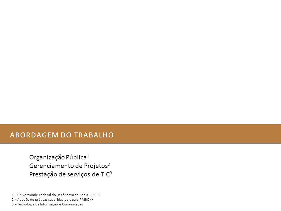 ABORDAGEM DO TRABALHO 1 – Universidade Federal do Recôncavo da Bahia - UFRB 2 – Adoção de práticas sugeridas pelo guia PMBOK® 3 – Tecnologia da Inform