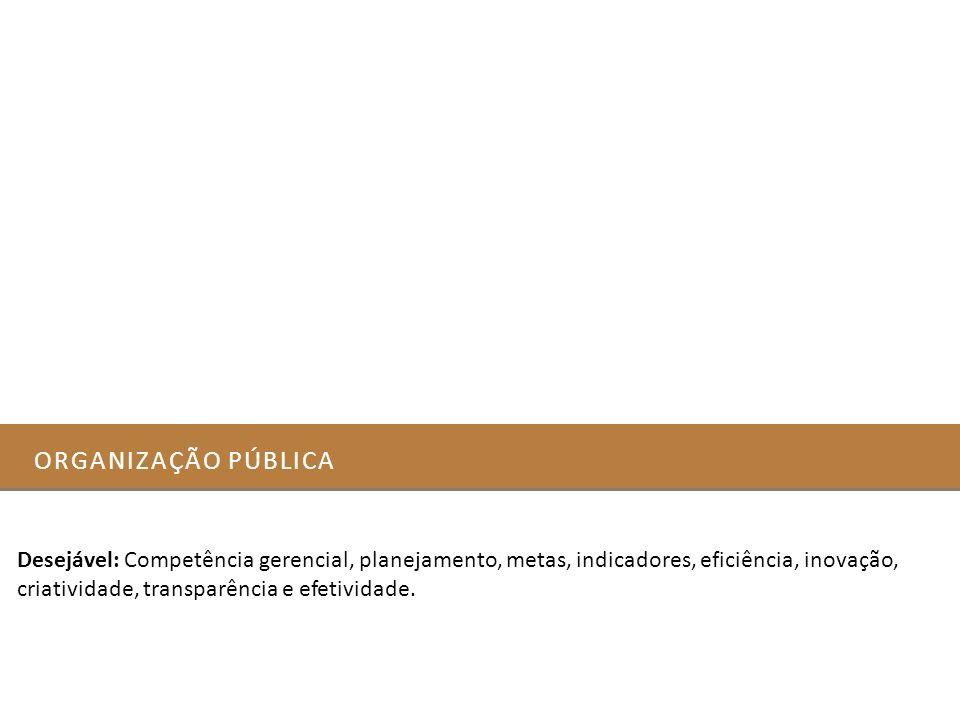 ORGANIZAÇÃO PÚBLICA Desejável: Competência gerencial, planejamento, metas, indicadores, eficiência, inovação, criatividade, transparência e efetividad