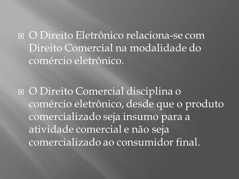 O Direito Eletrônico relaciona-se com Direito Comercial na modalidade do comércio eletrônico.