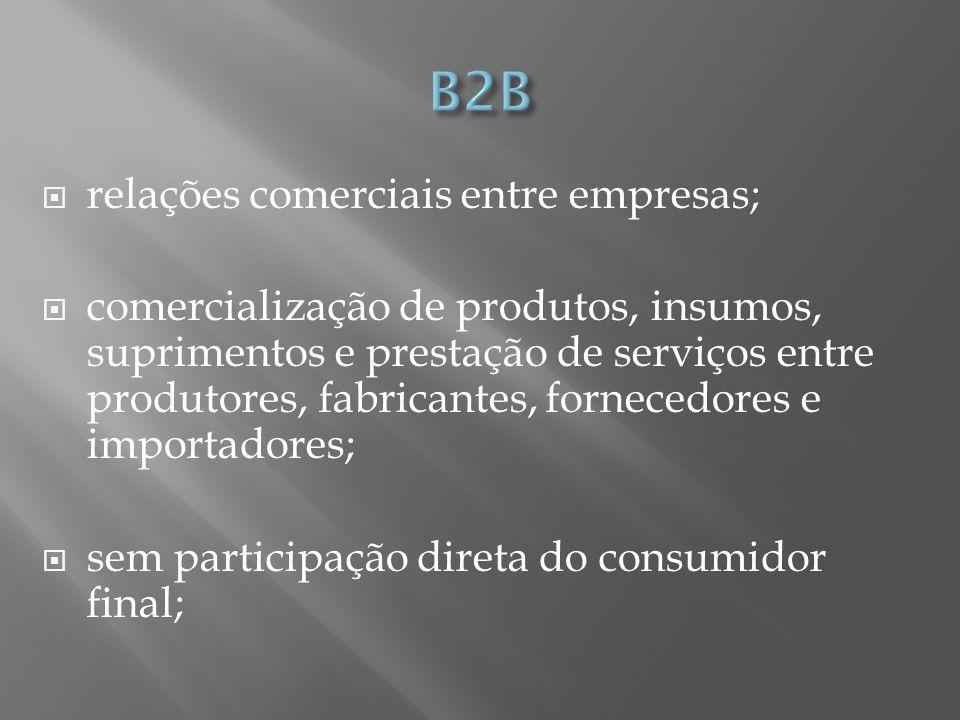 relações comerciais entre empresas; comercialização de produtos, insumos, suprimentos e prestação de serviços entre produtores, fabricantes, fornecedores e importadores; sem participação direta do consumidor final;