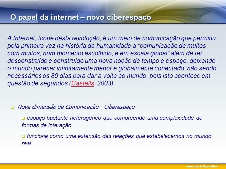 O papel da internet – novo ciberespaço A Internet, ícone desta revolução, é um meio de comunicação que permitiu pela primeira vez na história da humanidade a comunicação de muitos com muitos, num momento escolhido, e em escala global além de ter desconstruído e construído uma nova noção de tempo e espaço, deixando o mundo parecer infinitamente menor e globalmente conectado, não sendo necessários os 80 dias para dar a volta ao mundo, pois isto acontece em questão de segundos (Castells, 2003).Castells Nova dimensão de Comunicação - Ciberespaço espaço bastante heterogêneo que compreende uma complexidade de formas de interação funciona como uma extensão das relações que estabelecemos no mundo real