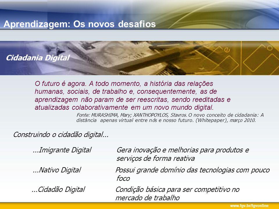 www.fgv.br/fgvonline Aprendizagem: Os novos desafios O futuro é agora. A todo momento, a história das relações humanas, sociais, de trabalho e, conseq
