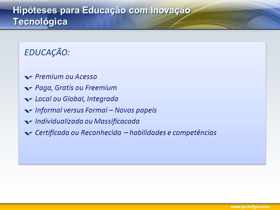 www.fgv.br/fgvonline Hipóteses para Educação com Inovação Tecnológica EDUCAÇÃO: Premium ou Acesso Paga, Gratis ou Freemium Local ou Global, Integrada