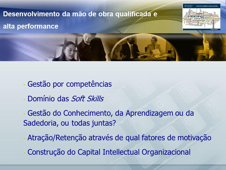 Desenvolvimento da mão de obra qualificada e alta performance Gestão por competências Domínio das Soft Skills Gestão do Conhecimento, da Aprendizagem ou da Sadedoria, ou todas juntas.