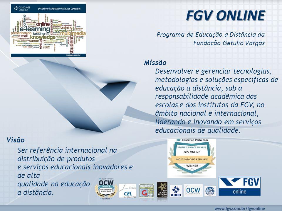 Programa de Educação a Distância da Fundação Getulio Vargas FGV ONLINE Missão Desenvolver e gerenciar tecnologias, metodologias e soluções específicas de educação a distância, sob a responsabilidade acadêmica das escolas e dos institutos da FGV, no âmbito nacional e internacional, liderando e inovando em serviços educacionais de qualidade.