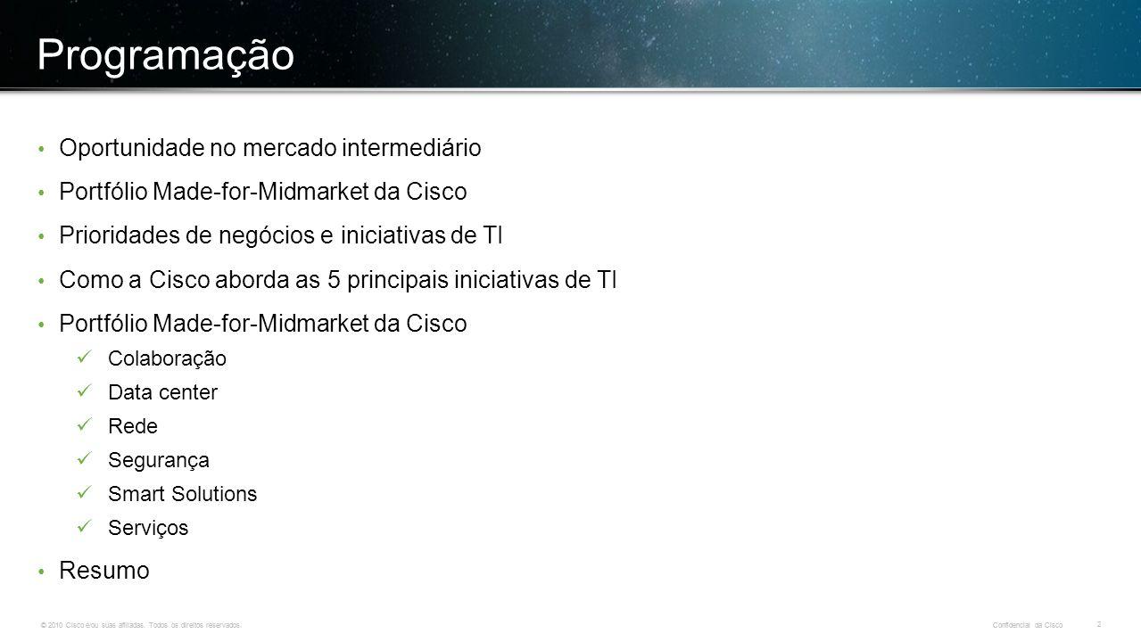 © 2010 Cisco e/ou suas afiliadas. Todos os direitos reservados. Confidencial da Cisco 2 © 2010 Cisco e/ou suas afiliadas. Todos os direitos reservados