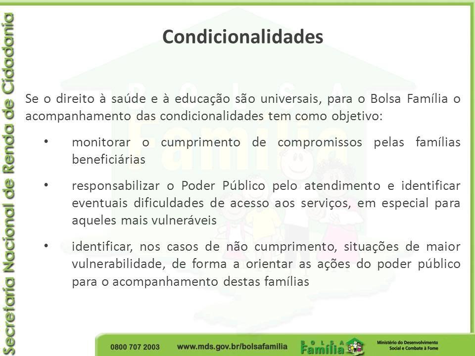 Condicionalidades Se o direito à saúde e à educação são universais, para o Bolsa Família o acompanhamento das condicionalidades tem como objetivo: mon