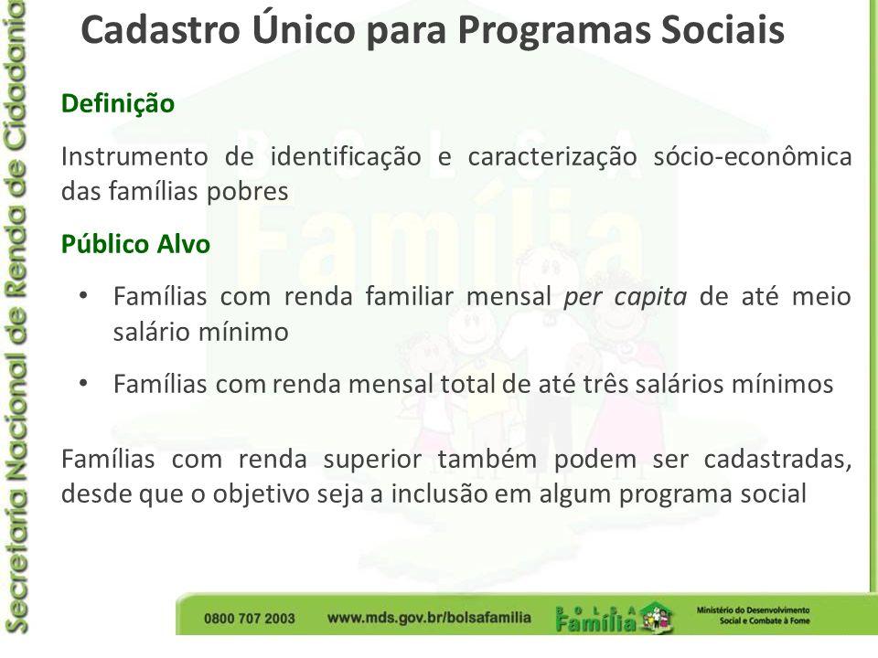 Definição Instrumento de identificação e caracterização sócio-econômica das famílias pobres Público Alvo Famílias com renda familiar mensal per capita