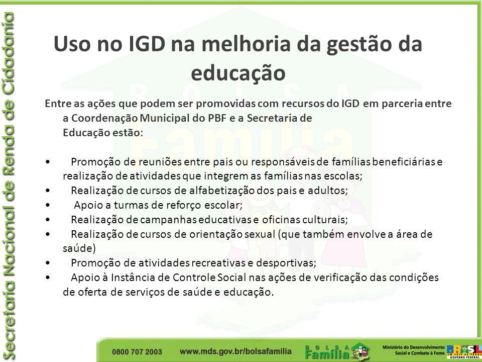 Uso no IGD na melhoria da gestão da educação Entre as ações que podem ser promovidas com recursos do IGD em parceria entre a Coordenação Municipal do