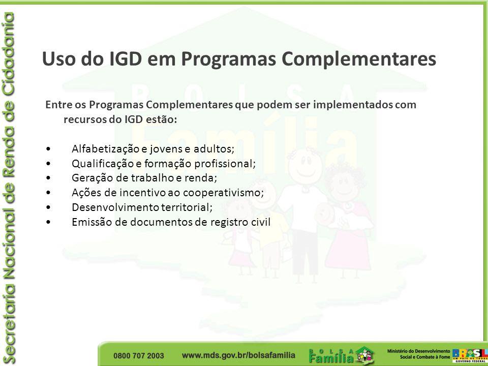 Uso do IGD em Programas Complementares Entre os Programas Complementares que podem ser implementados com recursos do IGD estão: Alfabetização e jovens