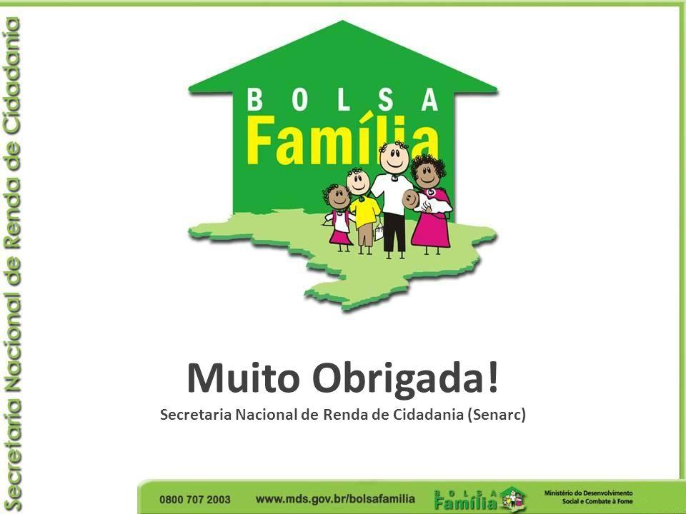 Muito Obrigada! Secretaria Nacional de Renda de Cidadania (Senarc)