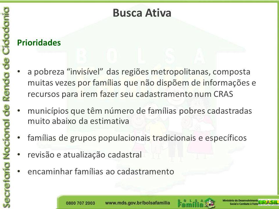 Busca Ativa Prioridades a pobreza invisível das regiões metropolitanas, composta muitas vezes por famílias que não dispõem de informações e recursos p