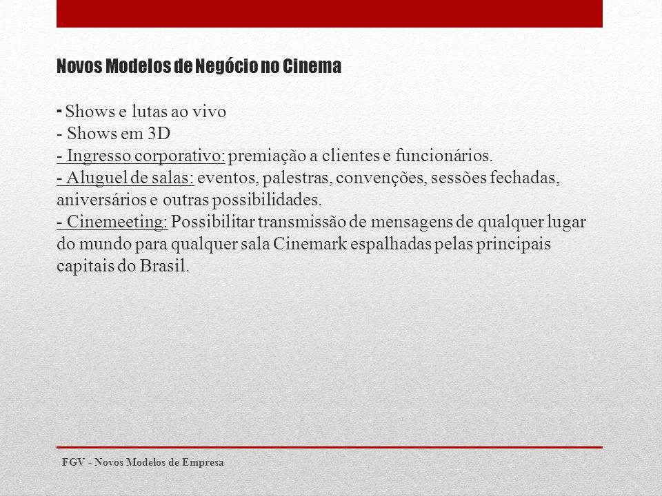 Novos Modelos de Negócio no Cinema - Shows e lutas ao vivo - Shows em 3D - Ingresso corporativo: premiação a clientes e funcionários.