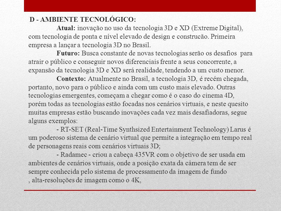 D - AMBIENTE TECNOLÓGICO: Atual: inovação no uso da tecnologia 3D e XD (Extreme Digital), com tecnologia de ponta e nível elevado de design e construcão.