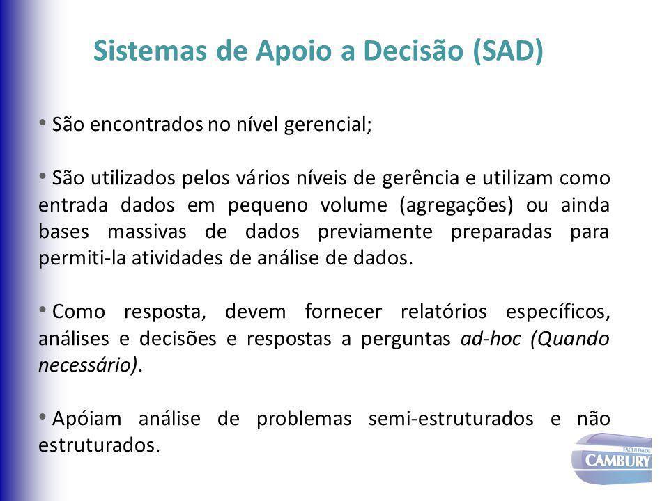 Sistemas de Apoio a Decisão (SAD) São encontrados no nível gerencial; São utilizados pelos vários níveis de gerência e utilizam como entrada dados em