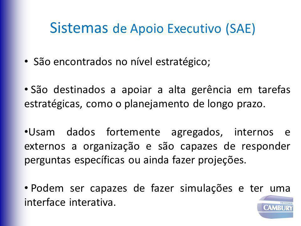 Sistemas de Apoio Executivo (SAE) São encontrados no nível estratégico; São destinados a apoiar a alta gerência em tarefas estratégicas, como o planej