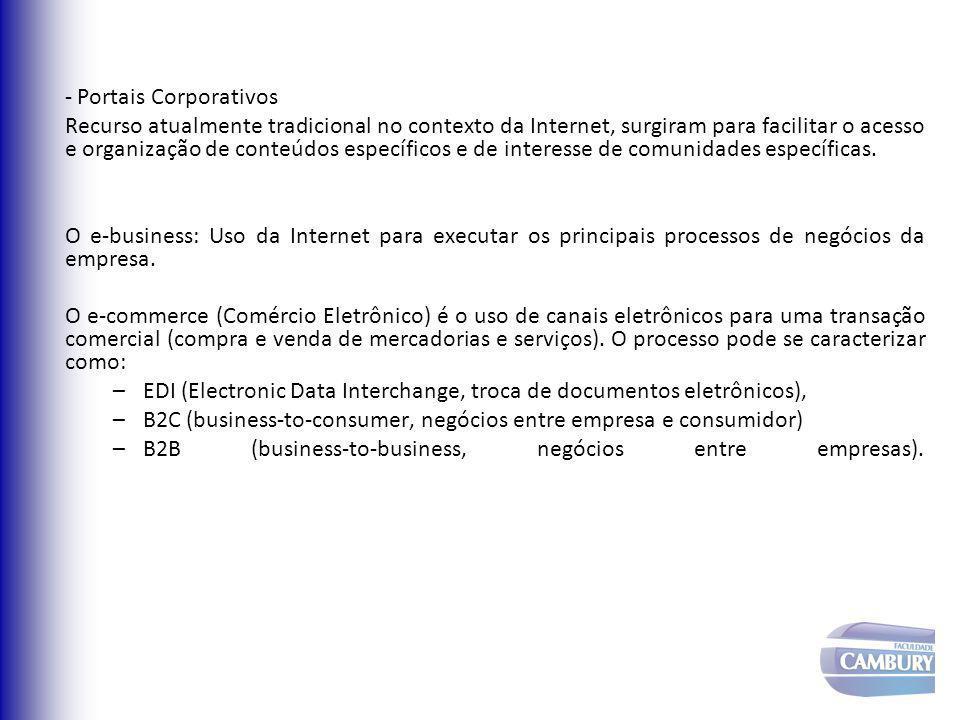- Portais Corporativos Recurso atualmente tradicional no contexto da Internet, surgiram para facilitar o acesso e organização de conteúdos específicos