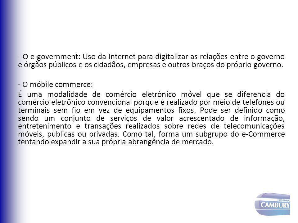 - O e-government: Uso da Internet para digitalizar as relações entre o governo e órgãos públicos e os cidadãos, empresas e outros braços do próprio go
