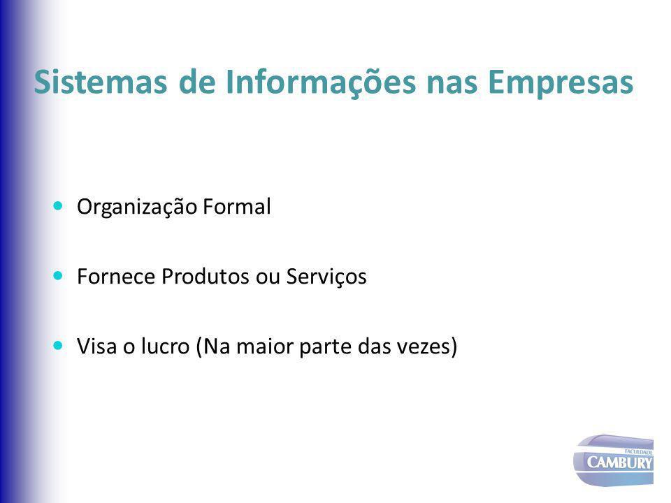 Sistemas de Informações nas Empresas Organização Formal Fornece Produtos ou Serviços Visa o lucro (Na maior parte das vezes)